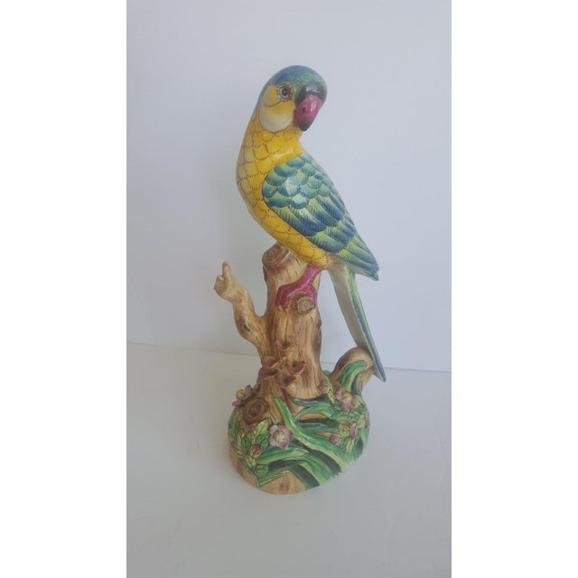Asian Vintage Handpainted Chinese Porcelain Parrot For Sale - Image 3 of 10