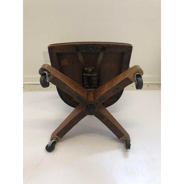 Vintage Industrial Wood Swivel Desk Chair