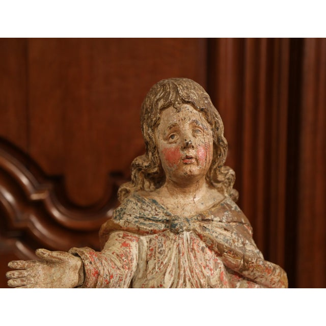17th Century French Hand-Carved Polychromed Painted Statue of Saint on Stand For Sale In Dallas - Image 6 of 11