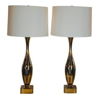 Midcentury Brutalist Tony Paul for Westwood Studios Brass Table Lamps - a Pair For Sale