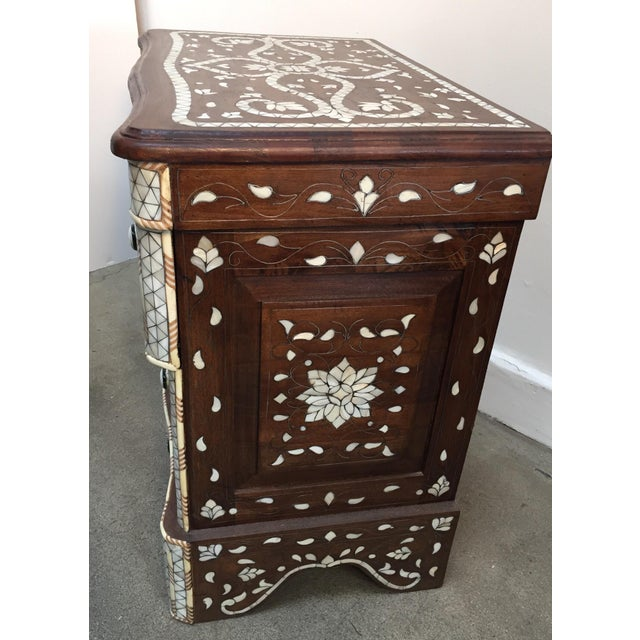 Syrian Middle Eastern White Mother-Of-Pearl Inlay Wedding Dresser For Sale - Image 9 of 12