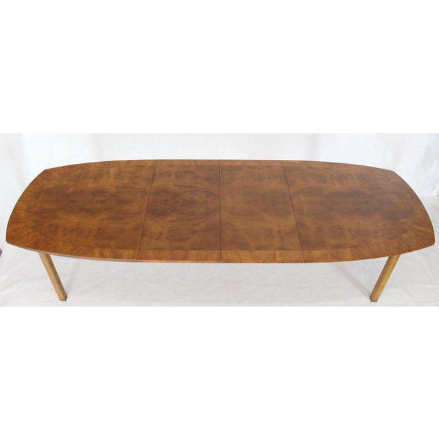 Oval Boat Shape Banded Burl Wood Dining Table With 2 Leaves Extensions For Sale - Image 4 of 12