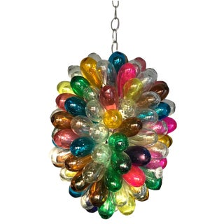 Colorful Light Fixture of Recycled Handblown Glass For Sale