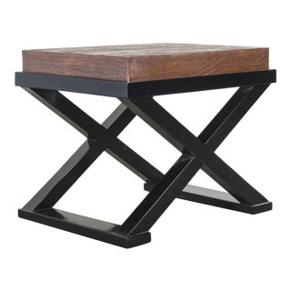 Wood Grain Design Top W/ Cross Leg Table by Robert Kuo, Hand Repoussé, Limited Edition For Sale