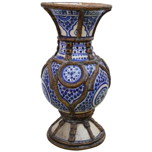 Blue Ceramic Vase W/ Fine Brass Filigree For Sale - Image 4 of 10