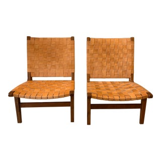 Woven Leather Risom Style Lounge Chairs- A Pair For Sale