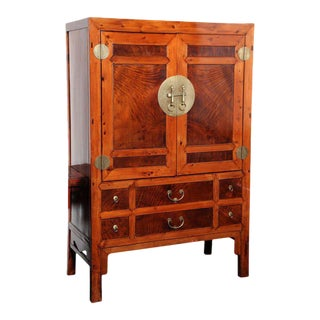 Large Hebei Burl Wood Paneled Cabinet With Brass Hardware Circa 1900 For Sale