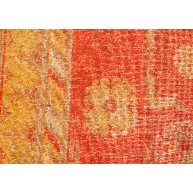 Rug & Kilim Antique Khotan Transitional Red and Yellow Wool Rug - 4′6″ × 8′4″ For Sale - Image 4 of 6