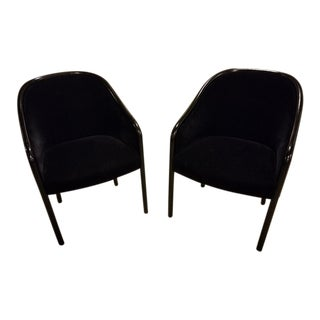 Ward Bennett for Brickel Black Walnut and Black Mohair Velvet Chairs - Set of 2 For Sale