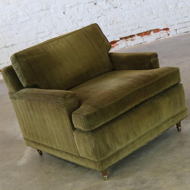 Deep Green Velvet Lawson Style Vintage Club Chair Mid Century Modern - Image 4 of 11