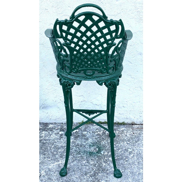 Metal Victorian Style Garden/Patio Hightop Table and 3 Chairs, Provenance Celine Dion - Set of 4 For Sale - Image 7 of 11