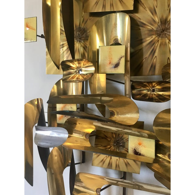 Gold William Vose Mid-Century Brass Wall Art Sculpture For Sale - Image 8 of 12
