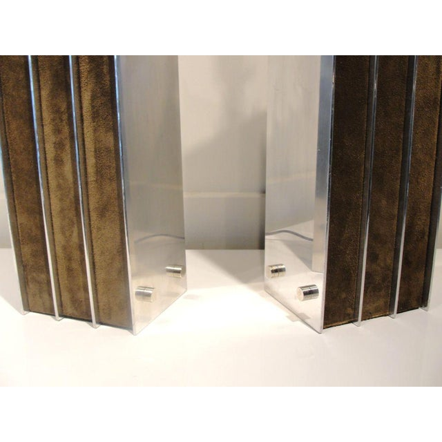 A Stunning Pair of Laurel Lamps in Polished Aluminum & Suede - Image 5 of 5