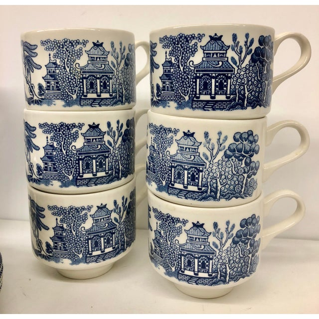 Americana Churchill Blue Willow Cups & Saucers Set - 22 Piece Set For Sale - Image 3 of 9
