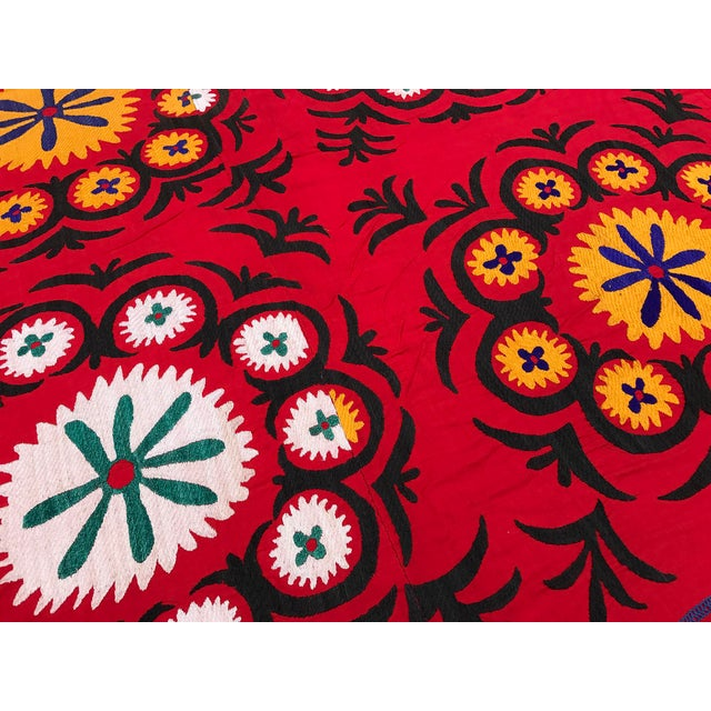 Handmade Red Suzani Textile For Sale In Los Angeles - Image 6 of 6