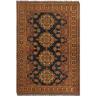 Super Kazak Garish Lashell Green/Beige Wool Rug - 4'6 X 5'8