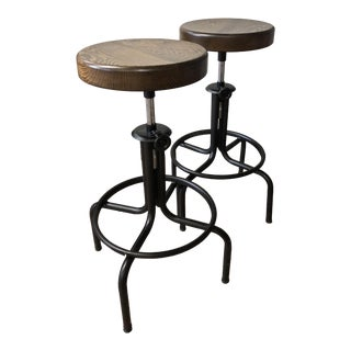 Industrial Steel & Oak Stools - A Pair