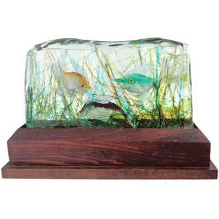 Cenedese Murano Three Fish Italian Art Glass Aquarium Block on Lighted Base For Sale