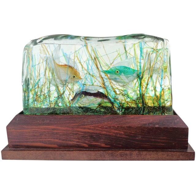 Cenedese Murano Three Fish Italian Art Glass Aquarium Block on Lighted Base For Sale