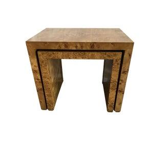 1970s Modern Milo Braughman Olive Burl Nesting Tables - Set of 2 For Sale