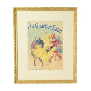 "1890s Antique Jules Cheret Belle Epoque ""Au Quartier Latin"" Paris Illustre Lithograph For Sale"