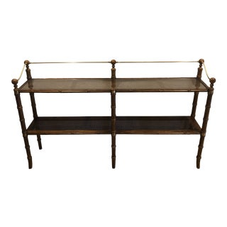 1970s Faux Bamboo Caned Knob Creek Console Table With Brass Rail For Sale