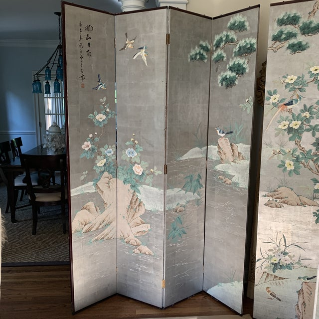 Chinoiserie Chinoiserie Eight Panel Folding Screen, Silver Leaf With Birds, Peonies and Cherry Blossoms - a Pair For Sale - Image 3 of 13