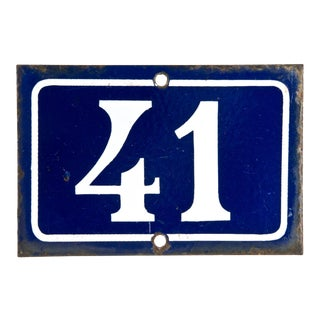 Vintage French Enamel House Number 41 For Sale