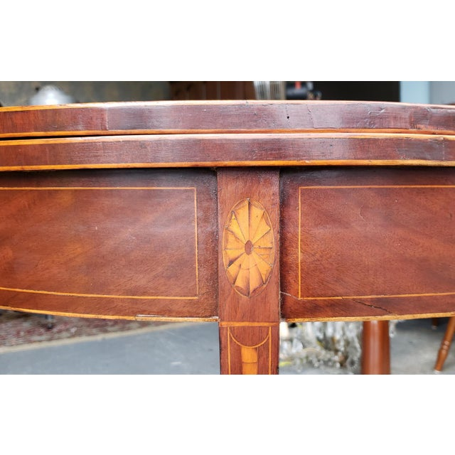 American Federal Inlaid & Figured Mahogany Demilune Games Table Rhode Island or Connecticut C1795 For Sale In New York - Image 6 of 13