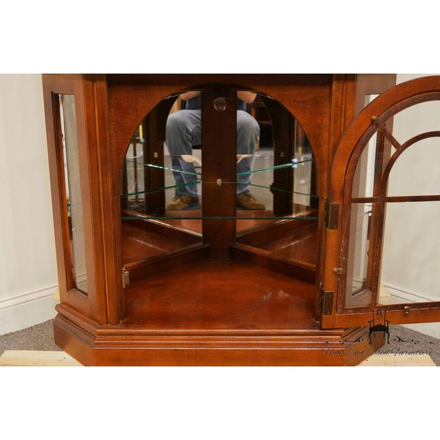 Pulaski Furniture Cherry Illuminated Corner Display Curio Cabinet For Sale In Kansas City - Image 6 of 9