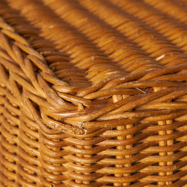 Trompe l'Oleil Wicker Draped Console Table For Sale - Image 4 of 8