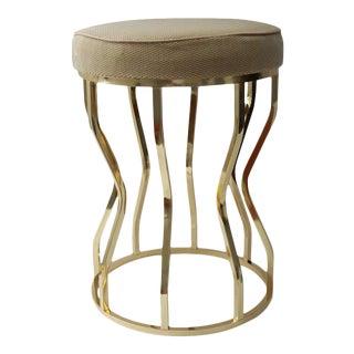 Polished Brass & Velvet Upholstered Stool
