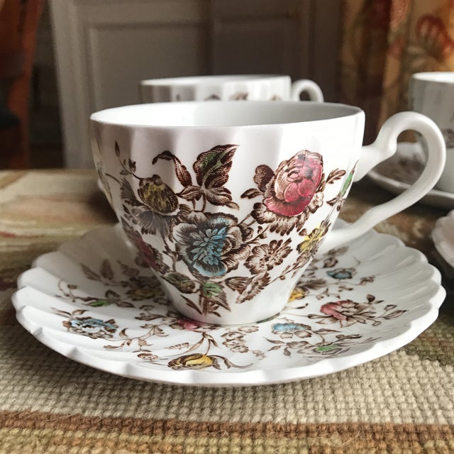 Cottage Staffordshire Bouquet England Tea / Coffee Set - 11 Piece For Sale - Image 3 of 9