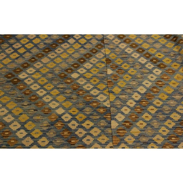 1990s Shabby Chic Abstract Zorion Blue/Brown Hand-Woven Kilim Wool Rug -6'1 X 7'9 For Sale - Image 5 of 8