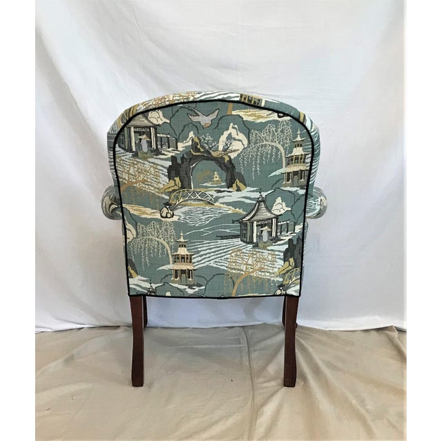 Mid Century Robert Allen Chinoiserie Toile Upholstered Queen Anne Armchair For Sale - Image 4 of 8