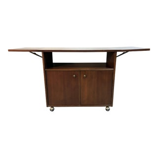 Mid Century Modern Mahogany Drop Leaf Bar Cart / Server For Sale
