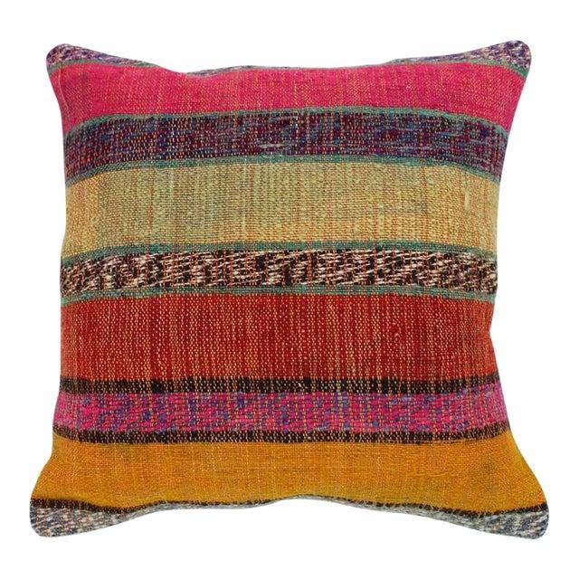 Vintage Turkish Kilim Stiped Wool Rug Pillow Case For Sale
