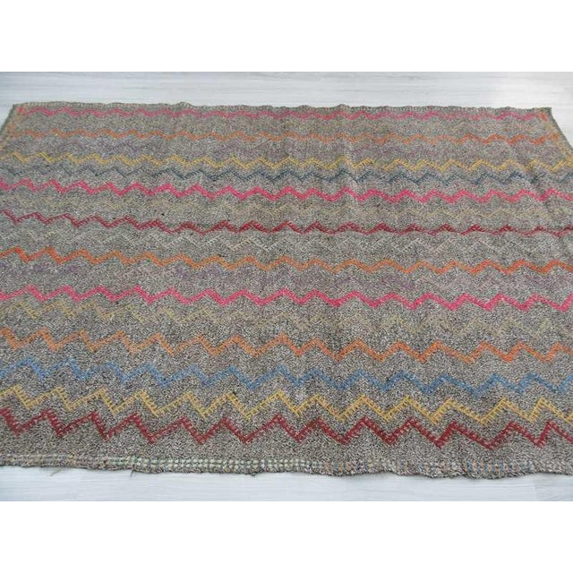 Vintage Turkish Kilim Embroidered Decorative Rug - 6′2″ × 9′3″ For Sale - Image 5 of 6