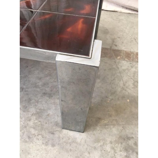 Mid-Century Tile Top Coffee Table With Chrome Frame For Sale - Image 5 of 8