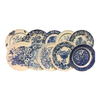 Blue & White Mixed Dinner Plates Set 10 For Sale
