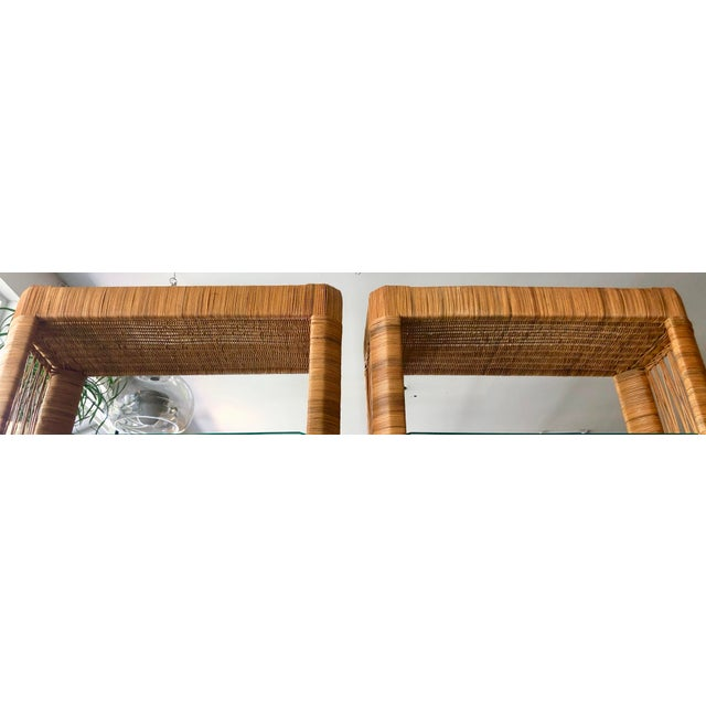 Mid-Century Modern Pair Rattan Etageres From 70's For Sale - Image 3 of 10