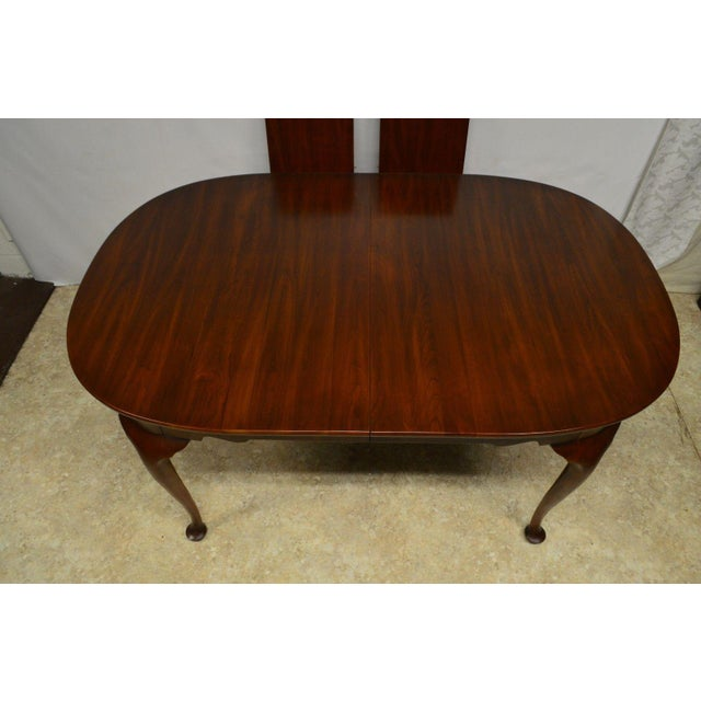 Red Henkel Harris Solid Cherry Queen Anne Style Dining Table For Sale - Image 8 of 11