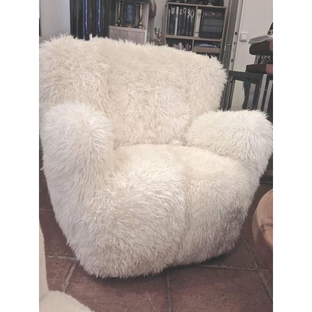 1950s Viggo Boesen Pair of Hairy Club Chairs Covered in Sheep Skin Fur For Sale - Image 5 of 6