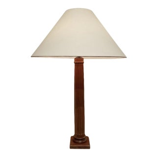 John Saladino Fluted Mahogany Column Lamp For Sale