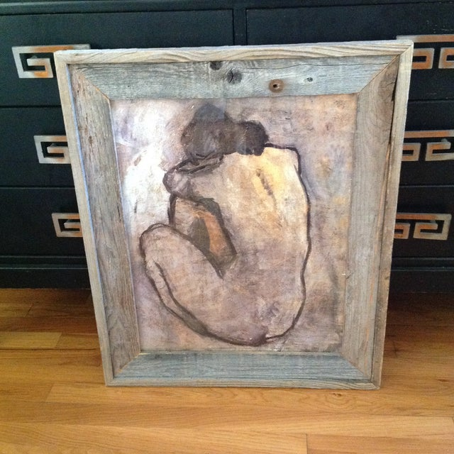 Rustic Wood Framed Picasso Nude Print - Image 4 of 6