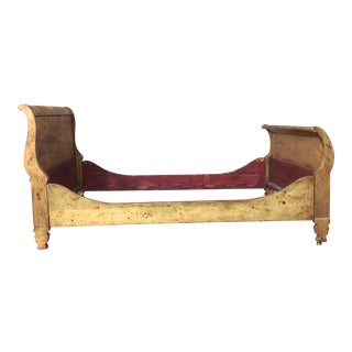 1920s French Neoclassical Empire Gold Gilt Leaf Sleigh Bedframe For Sale