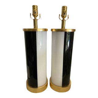 Paris Now Eglomise Book Matched Lamps by Liz Marsh - a Pair For Sale