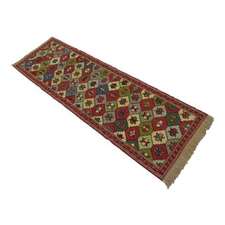 Vintage Turkish Handmade Sumac Kilim Runner- 2′ × 6′4″ For Sale