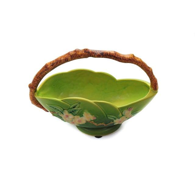 Antique Roseville Pottery Green Basket - Image 3 of 10