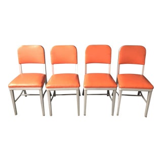 Metal Orange Tanker Chairs - Set of 4